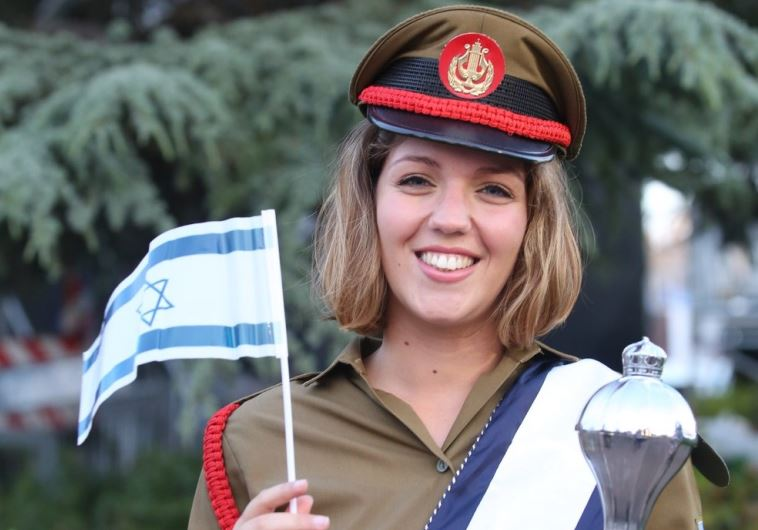 An IDF soldier prepares for the official Independence Day ceremonies on Mt. Herzl