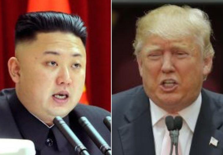 N. Korean leader Kim Jong-Un (L), U.S. President Donald Trump (photo credit: REUTERS)