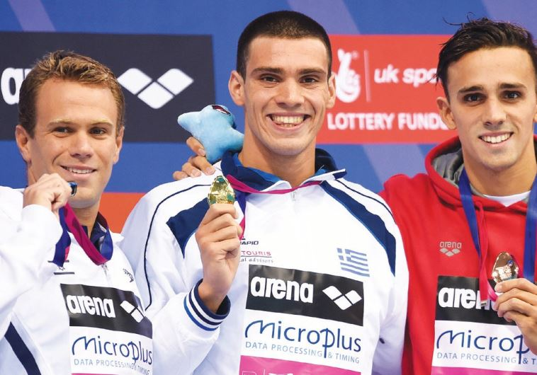 Israel's Gal Nevo (left) won his second career medal at the European Swimming Championships in Londo