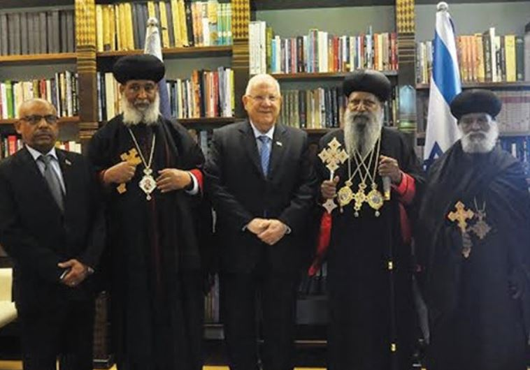 PRESIDENT REUVEN RIVLIN with Ethiopian Orthodox Church Patriarch Abune Mathias (second right), senio
