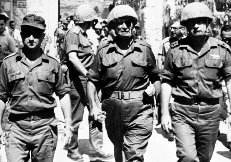 Yitzhak Rabin (R), Moshe Dayan (C), and Uzi Narkiss