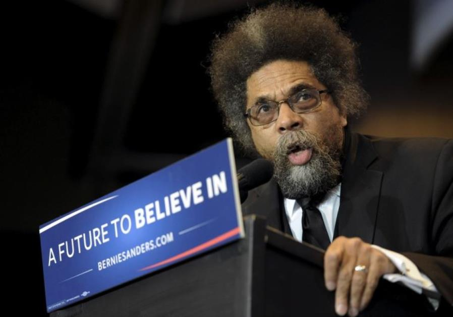 Cornel West speaks at a rally for Bernie Sanders
