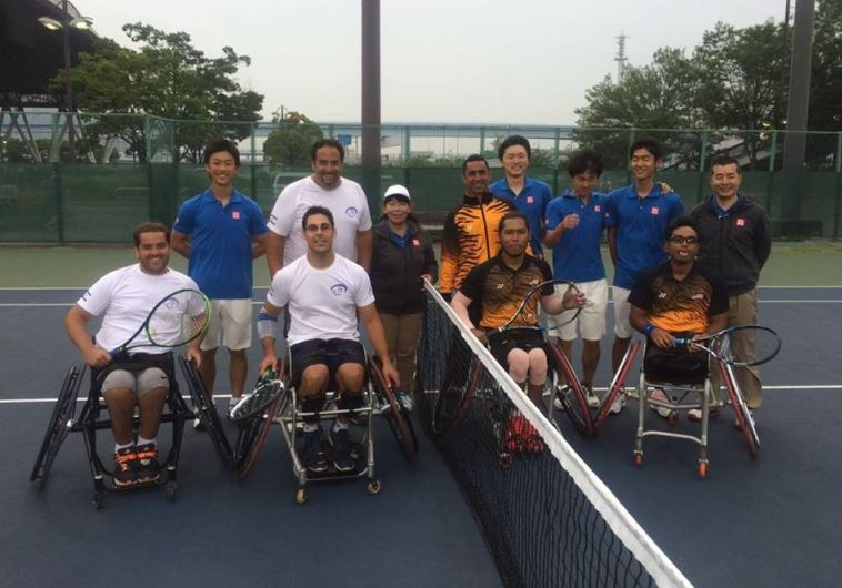 Israel's wheelchair tennis team (left) pictured above with their Malaysians counterpart ahead of the