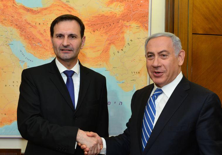 Croatia's Foreign Minister Miro Kovac and Prime Minister Benjamin Netanyahu