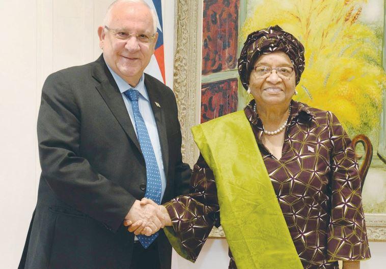 PRESIDENT REUVEN RIVLIN yesterday welcomes Liberian President Ellen Johnson-Sirleaf