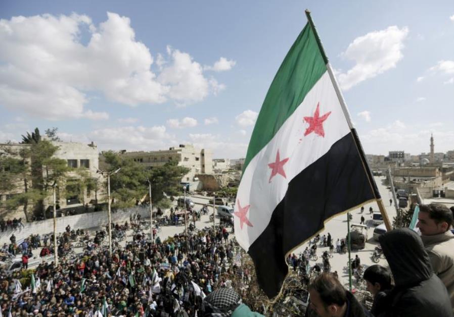 anti-government protest in Maarat al-Numan, Syria