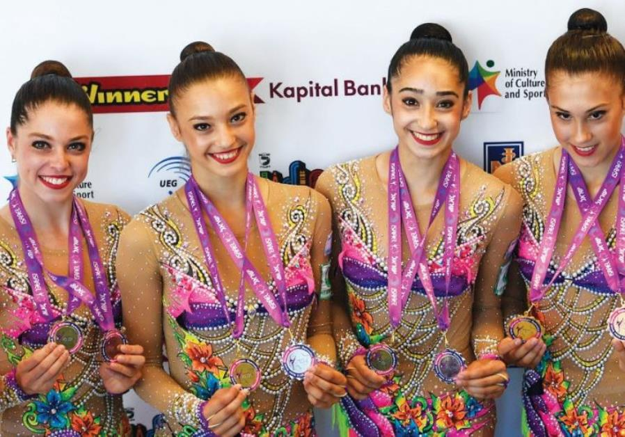 The members of Israel's rhythmic gymnastics national team were understandably delighted on Sunday af
