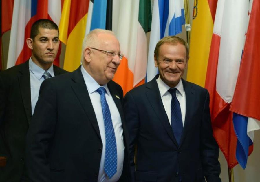 Donald Tusk, the President of the Council of Europe meets Israeli President Reuven Rivlin