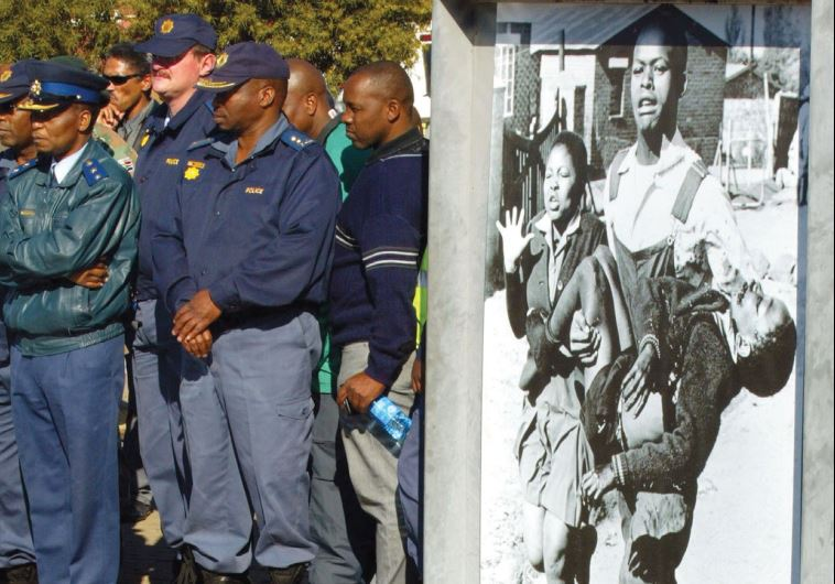 POLICEMEN STAND during the anniversary of the Soweto Uprising, marked every year, in Soweto, 2006. D