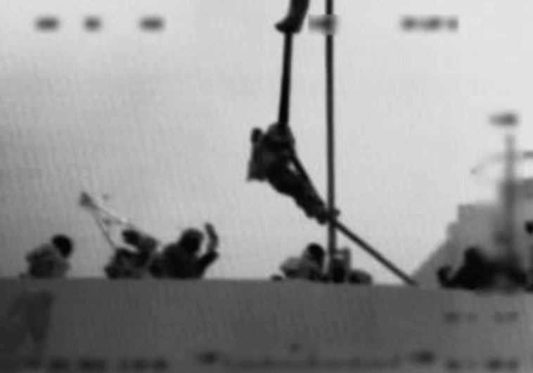 An IDF soldier rappels onto the Mavi Marmara during the Navy raid in 2010 (IDF)