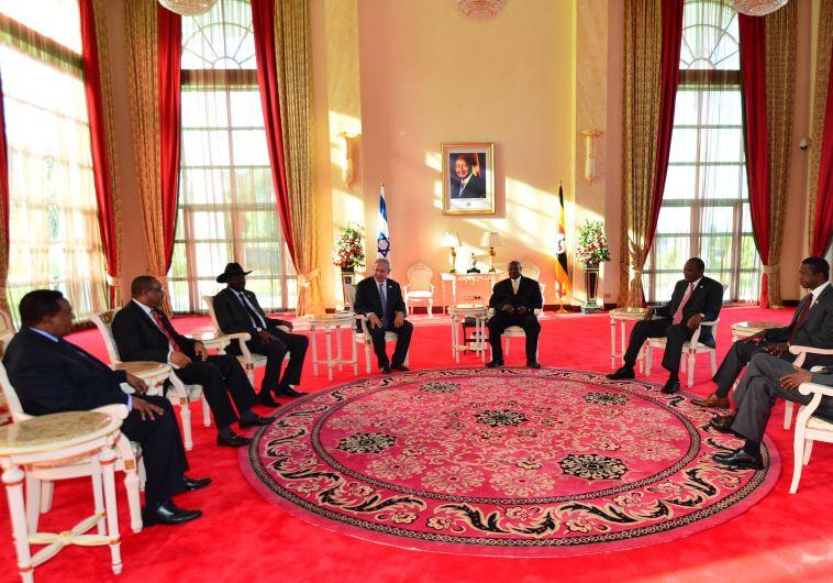 Prime Minister Benjamin Netanyahu with seven east African leaders