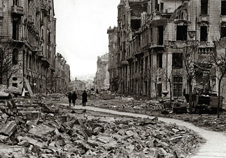 A STREET in Warsaw destroyed during the failed 1944 uprising against Nazi occupiers