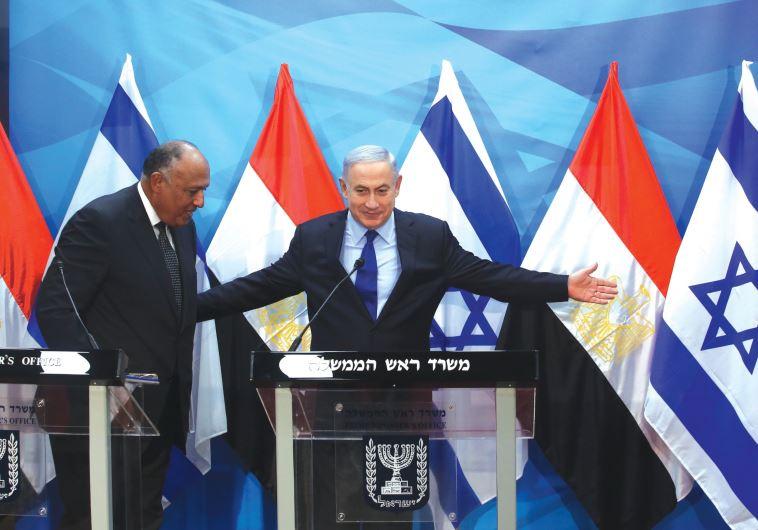 PRIME MINISTER Benjamin Netanyahu meets Egypt's Foreign Minister Sameh Shoukry in Jerusalem on Sunda