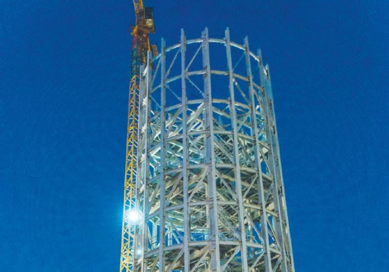 THE 250-METER-HIGH Ashalim Solar tower, now under construction south of Beersheba.