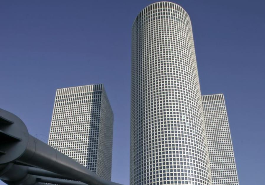 View of the Azrieli Towers in Tel Aviv.