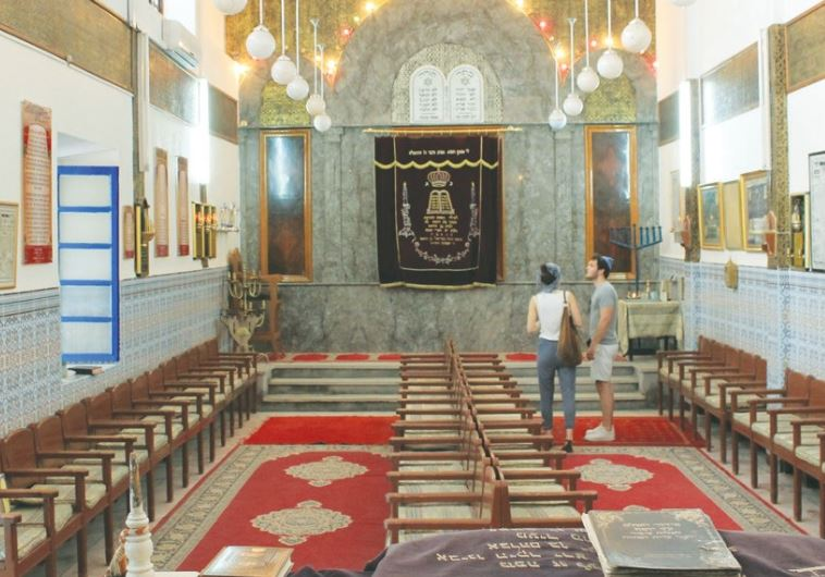TOURISTS VISIT the Lazama Synagogue in Marrakesh, Morocco.
