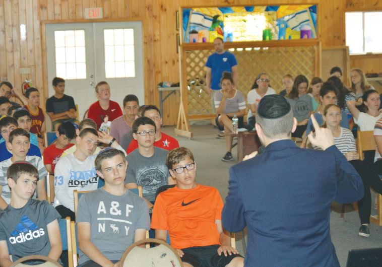 FORMER MK Dov Lipman speaks to youngsters at Camp Mesorah in Guilford, New York on Thursday