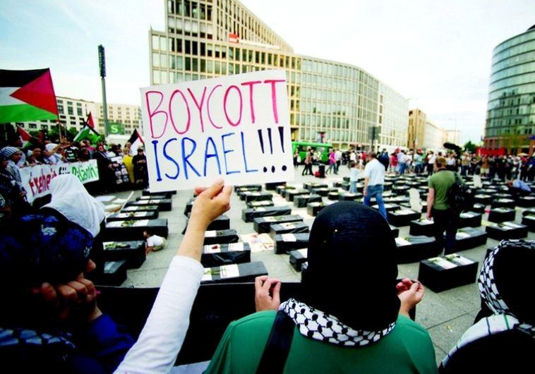 BDS activists in Berlin (photo credit: REUTERS)