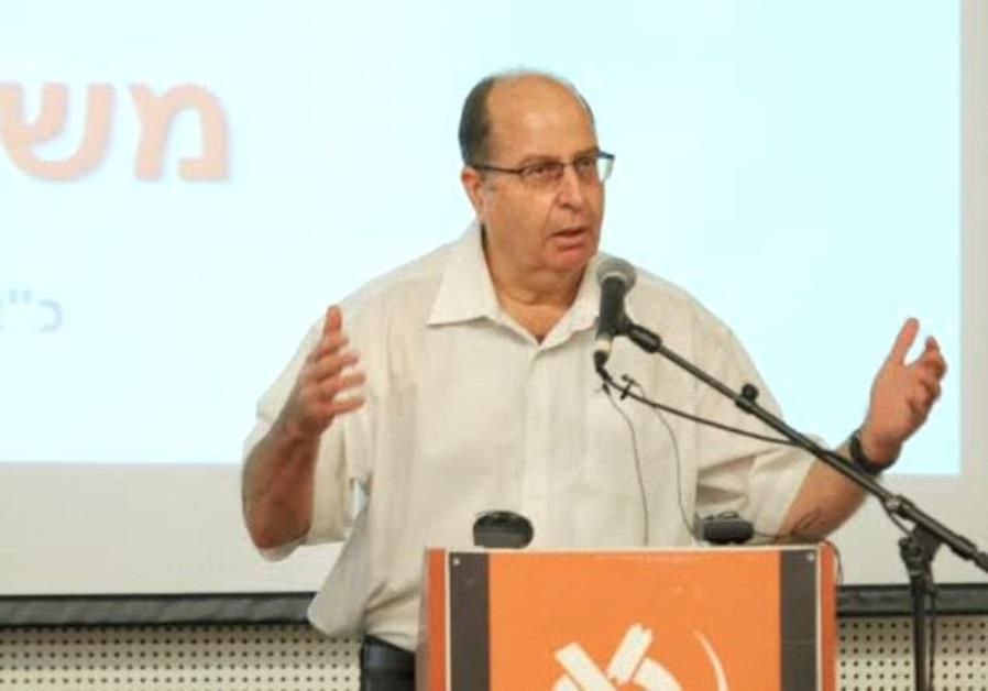 Ya'alon speaking at the Bar-Ilan forum