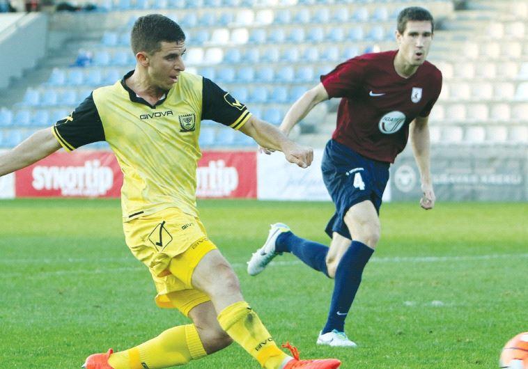 Beitar Jerusalem midfielder Idan Vered nets his team's opener in last night's 1-1 draw against Jelga