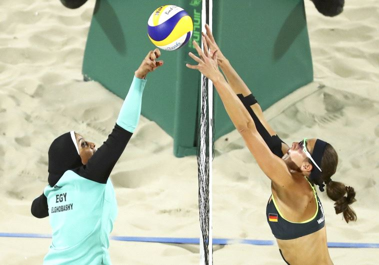 Egyptian and German beach volleyball players compete in 2016 Rio Olympics