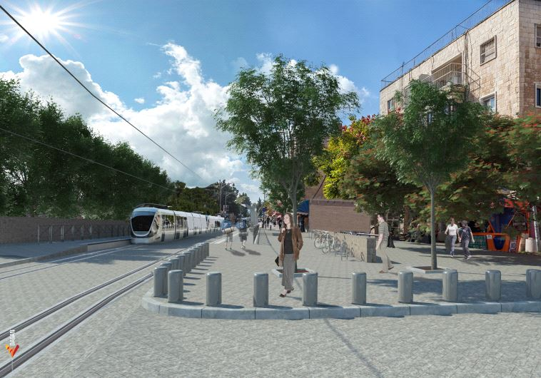 Simulation de la future ligne de tramway dans Emek Refaim