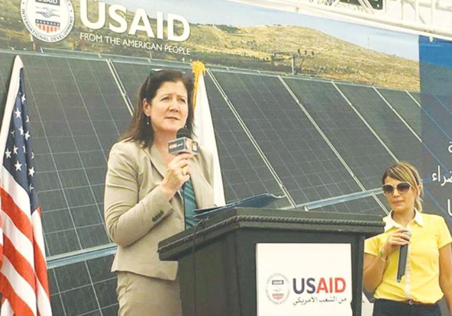 DOROTHY SHEA, acting principal officer at the US Consulate in Jerusalem, speaks at the school's inau