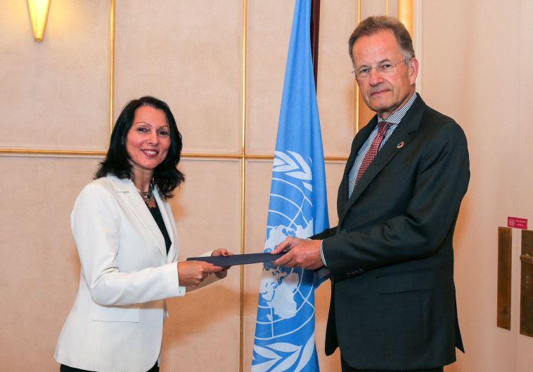 Aviva Raz Shechter, the new Israeli ambassador to the UN and Michael Møller, Director-General of the