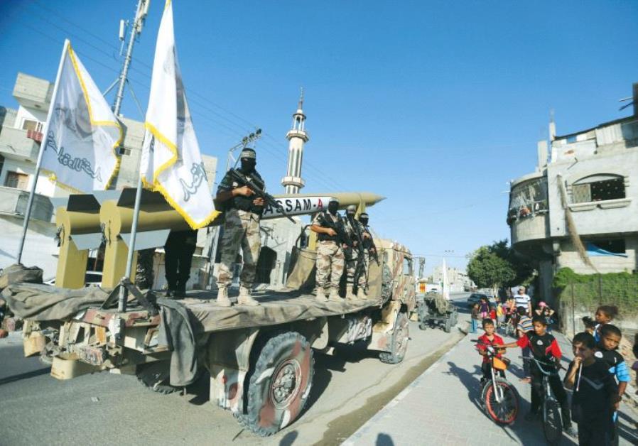 PALESTINIAN MEMBERS of a Hamas unit parade in Gaza on Sunday
