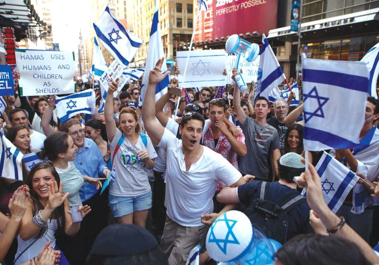 DO THEY need outreach? A pro-Israel rally in New York in 2014.