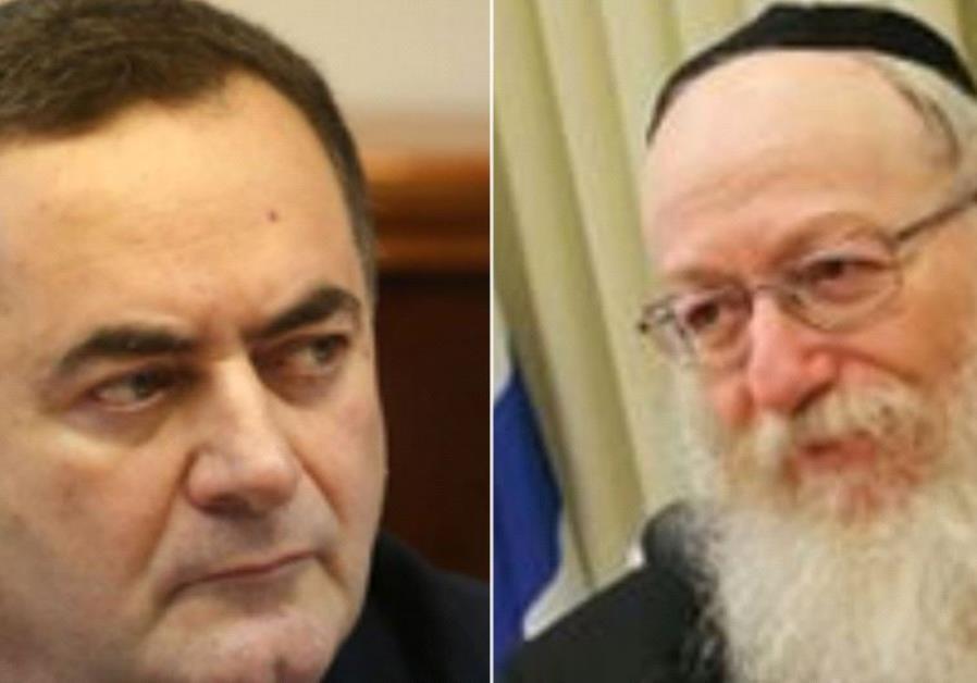 Transpotation Minister Yisrael Katz and Health Minister Yaakov Litzman