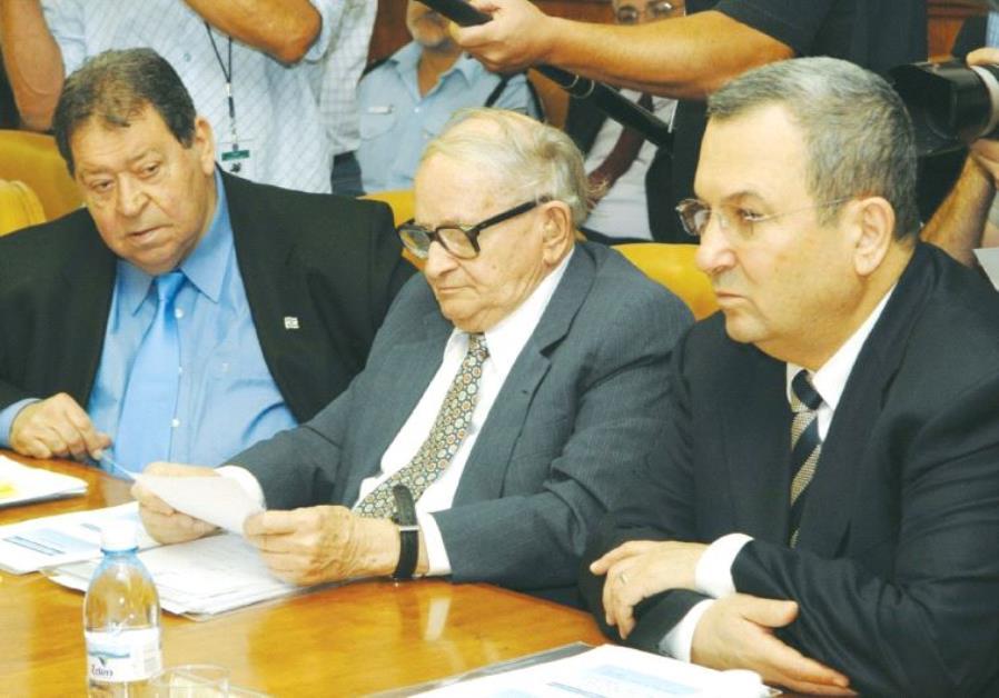 BINYAMIN BEN-ELIEZER (left) is shown during a 2007 cabinet meeting in Jerusalem with fellow cabinet