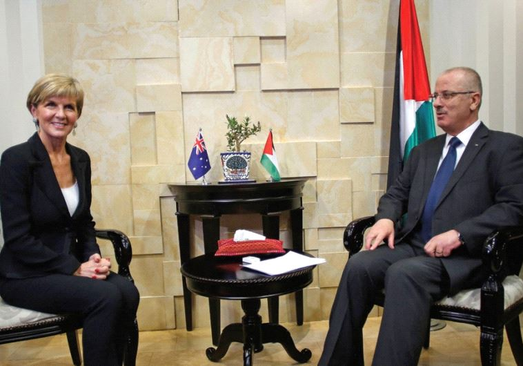 AUSTRALIAN FOREIGN MINISTER Julie Bishop meets with Palestinian Authority Prime Minister Rami Hamdal