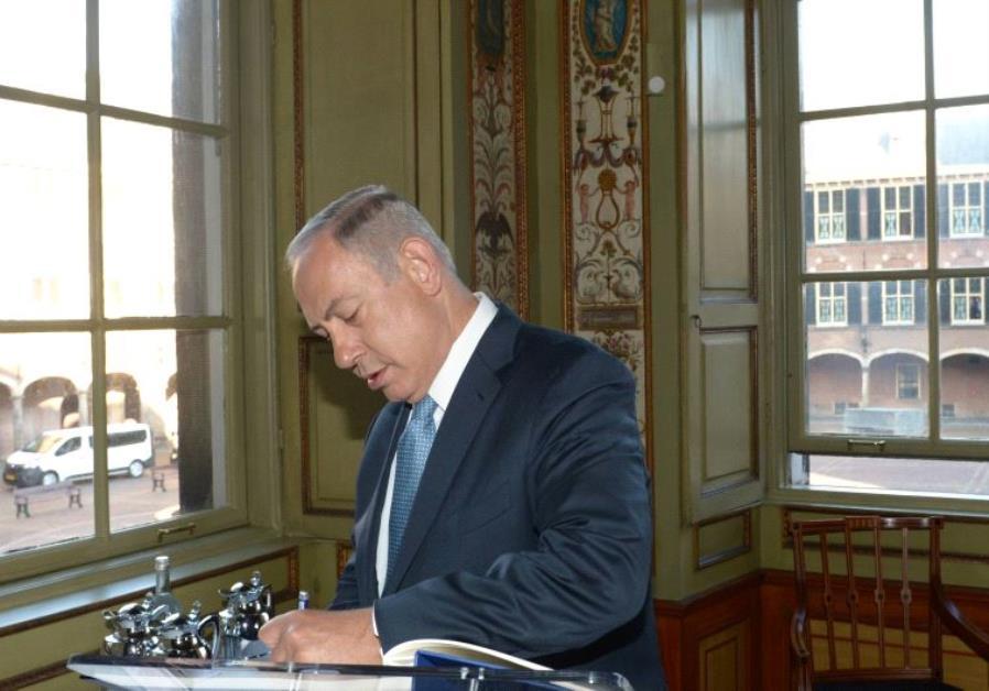 Prime Minister Benjamin Netanyahu at the Dutch Parliament.
