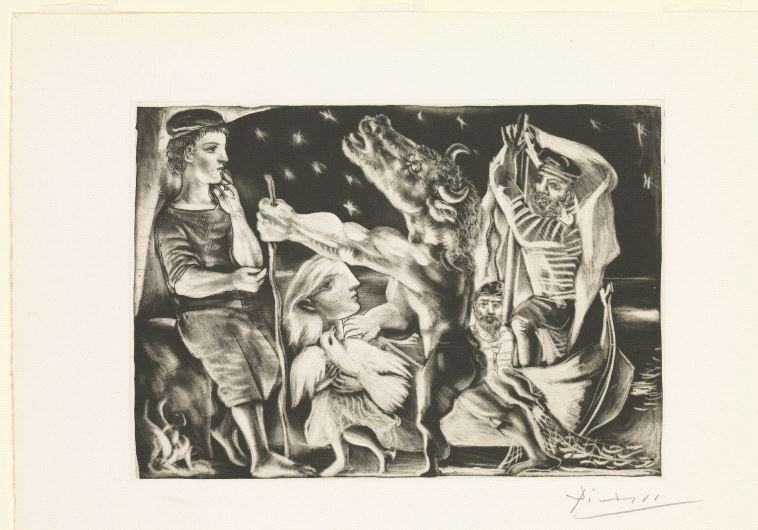 Minotaure aveugle guidé par une fillette dans la nuit, 1934