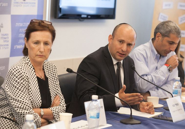 Education Minister Naftali Bennett discussing the new multi-year higher education plan.