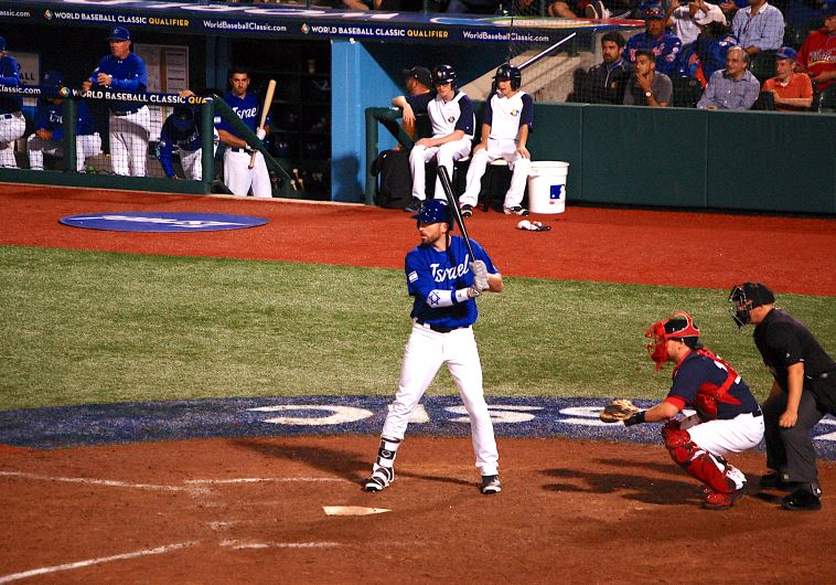 Cody Decker bats for Israel in the World Baseball Classic.