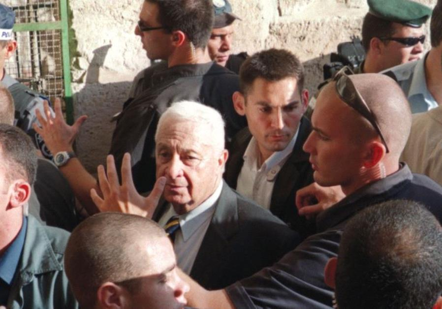 ARIEL SHARON visits the Temple Mount in 2000.