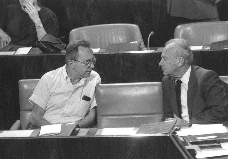 En 1985 avec Yitzhak Rabin, premier ministre