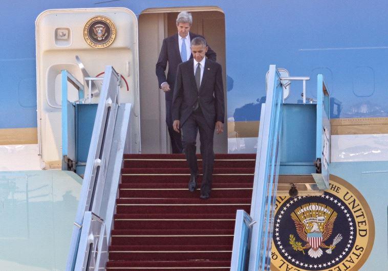 US President Barack Obama and Secretary of State John Kerry land at Ben Gurion Airport.
