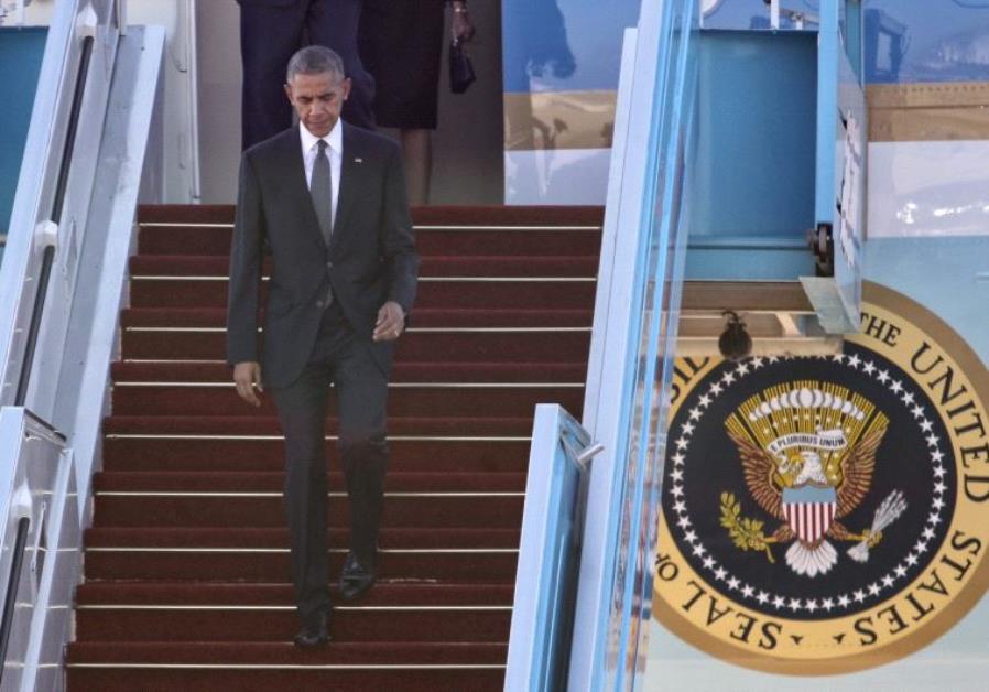 US President Barack Obama landing at Ben Gurion Airport.