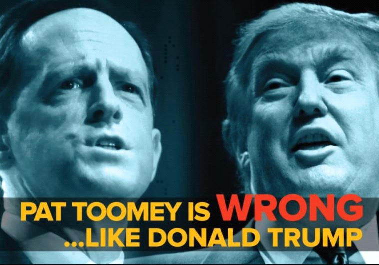 A SCREENSHOT from a J Street ad featuring Pennsylvania Sen. Pat Toomey's position on the Iran deal.