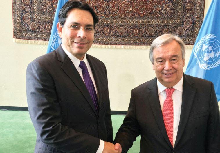 AMBASSADOR DANNY DANON shakes hands with incoming UN Secretary-General Antonio Guterres in New York