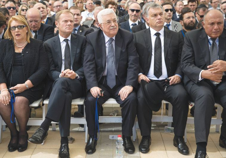 PALESTINIAN AUTHORITY President Mahmoud Abbas attends Shimon Peres's funeral at Mount Herzl on Septe