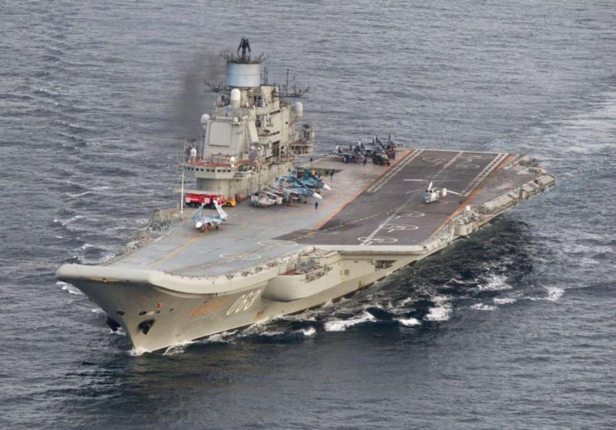 Russian aircraft carrier Admiral Kuznetsov in international waters off the coast of Northern Norway.
