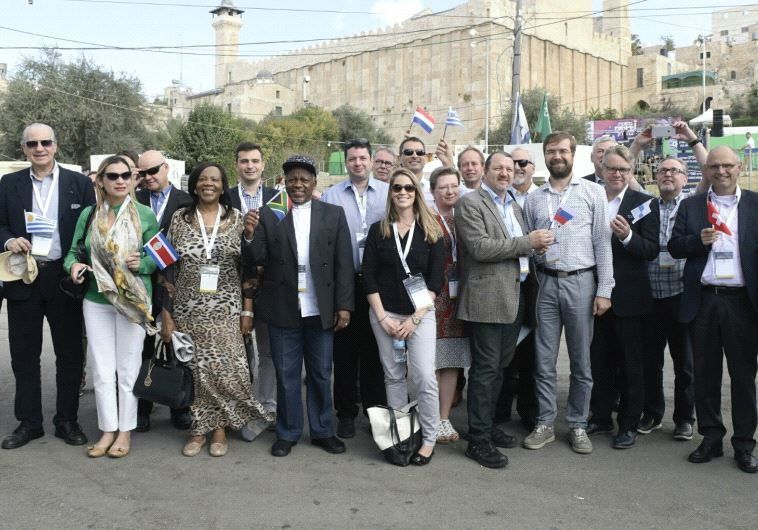 MEMBERS OF EUROPEAN PARLIAMENT visit the Cave of Patriarchs in Hebron yesterday.