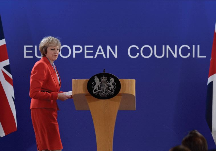 UK PRIME MINISTER Theresa May holds a news conference after the EU summit in Brussels on October 21.