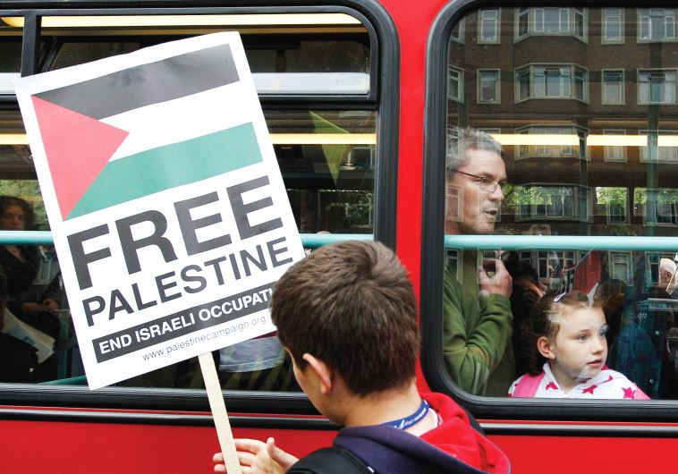 A PRO-PALESTINIAN protester demonstrates in London in 2010.