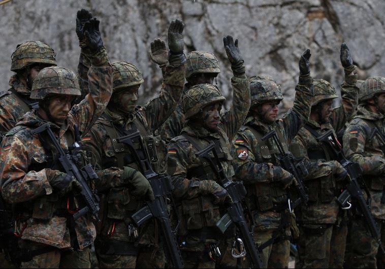 German Bundeswehr army soldiers demonstrate their skills at Kaserne Hochstaufen (mountain infantry m