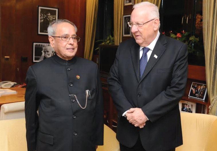 PRESIDENT REUVEN RIVLIN with Indian President Pranab Mukherjee during his state visit to Israel in 2